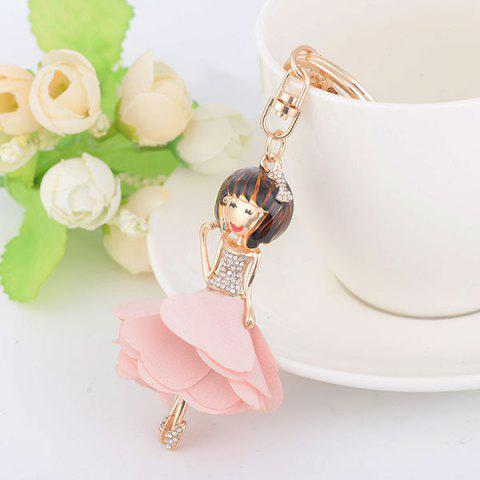 Fashion Rhinestoned Bow Fairy Key Chain PINK