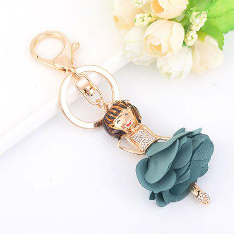 Rhinestoned Bow Fairy Key Chain Bleu clair