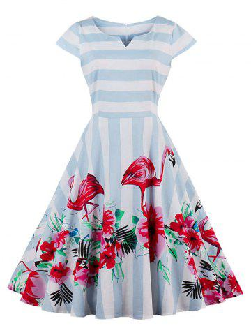 Latest Vintage Floral Flamingo Print Striped Dress LIGHT BLUE 2XL