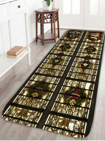 Outfits Vintage Floral Pattern Skidproof Bath Rug - W24 INCH * L71 INCH BLACK Mobile