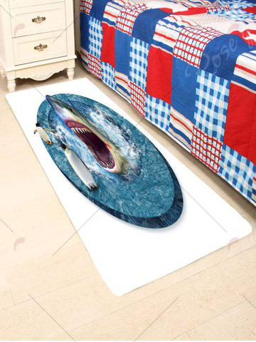 Chic Shark Penguins Water Absorption Coral Fleece Rug - W24 INCH * L71 INCH BLUE AND WHITE Mobile
