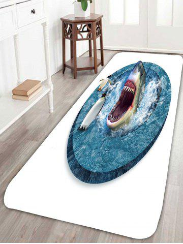 Outfit Shark Penguins Water Absorption Coral Fleece Rug - W24 INCH * L71 INCH BLUE AND WHITE Mobile