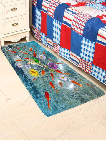 Outfit 3D Fish Floral Print Antiskid Coral Fleece Rug - W24 INCH * L71 INCH COLORFUL Mobile
