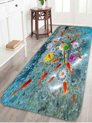 Shops 3D Fish Floral Print Antiskid Coral Fleece Rug - W24 INCH * L71 INCH COLORFUL Mobile