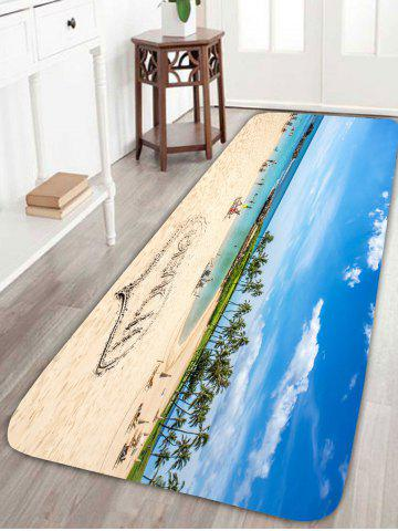 Fashion Scenic Heart Beach Style Coral Fleece Skidproof Rug - W24 INCH * L71 INCH COLORFUL Mobile