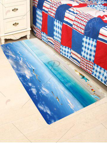 Online Sea Gull Starfish Antiskid Bathroom Rug - W24 INCH * L71 INCH BLUE Mobile