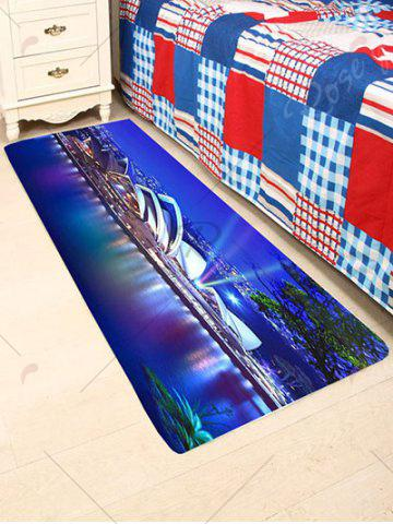 Unique Coral Fleece Skidproof Sydney Opera House Bathroom Rug - W24 INCH * L71 INCH BLUE Mobile