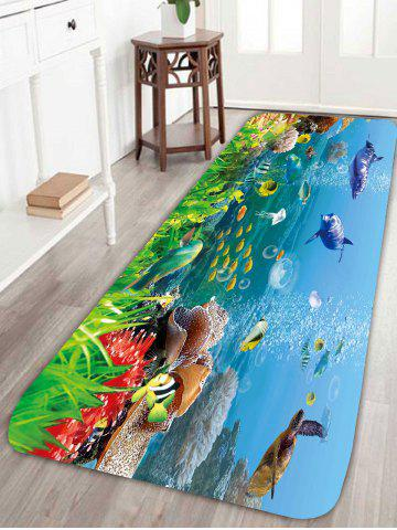 Fashion Skidproof Coral Fleece Underwater Fish Bath Rug - W24 INCH * L71 INCH COLORFUL Mobile