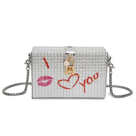 Trendy Lock Detail Chain Crossbody Bag - SILVER  Mobile