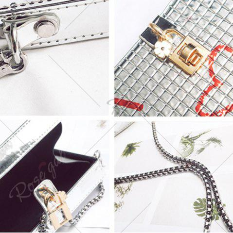 Affordable Lock Detail Chain Crossbody Bag - SILVER  Mobile