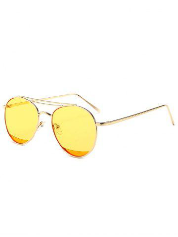 New Reflective Double Metallic Crossbar Pilot Sunglasses - YELLOW  Mobile