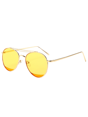 Store Reflective Double Metallic Crossbar Pilot Sunglasses - YELLOW  Mobile