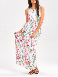 Maxi Floral Racerback Semi Formal Prom Dress - WHITE