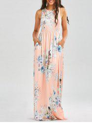 Maxi Floral Racerback Semi Formal Prom Dress - ORANGEPINK