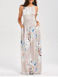 Maxi Floral Racerback Semi Formal Prom Dress - LIGHT GRAY