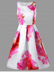 Sleeveless Fit and Flare Floral Party Dress -