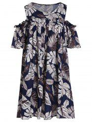 Plus Size Leaf Print Cold Shoulder Tunic Top