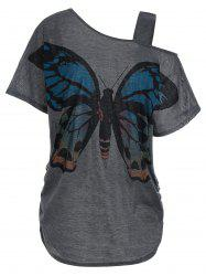 Skew Collar Plus Size Butterfly Print Tunic Top