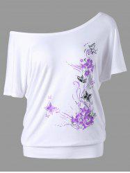 Skew Collar Butterfly and Floral T-Shirt - WHITE L