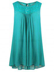 Plus Size Embroidered Trapeze Swing Dress -