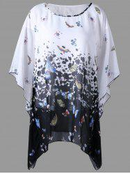 Butterfly Sleeve Butterfly Print Plus Size Blouse
