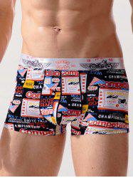 Letter Graphic Print Stretch Swimming Trunks -
