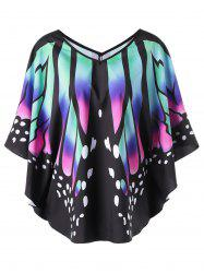 Butterfly Print Batwing Top - COLORMIX