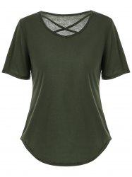 V Neck Criss Cross Cut Out T Shirt - Vert XL