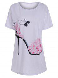 Floral High Heel Print Tunic T Shirt - WHITE M