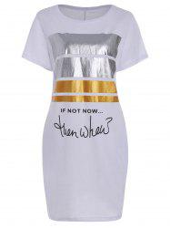 Pocket Graphic Glitter Print T Shirt Dress - WHITE