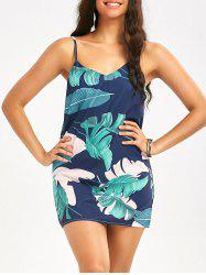 Palm Leaf Print Short Slip Dress