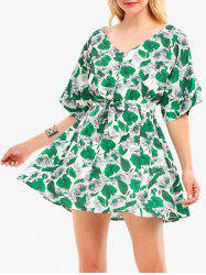 Floral Leaf Print Batwing Sleeve Tunic Dress