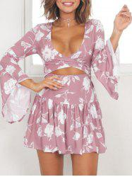Flared Sleeve Drop Waist Short Dress - PINK