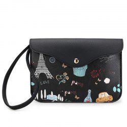 PU Leather Cartoon Printed Wristlet - BLACK