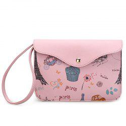 PU Leather Cartoon Printed Wristlet - PINK