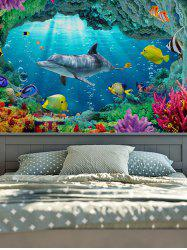 3D Sea World Print Rectangle Wall Hanging Tapestry - OCEAN BLUE