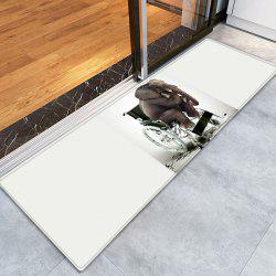 Elephant On The Wheelchair Pattern Water Absorption Flannel Area Rug