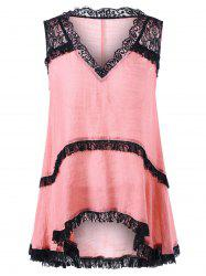 Sleeveless V Neck Lace Trim Top - ORANGEPINK