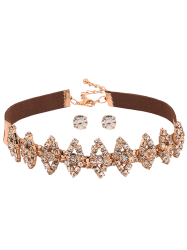 Artificial Suede Hollow Out Rhinestone Choker and Earrings