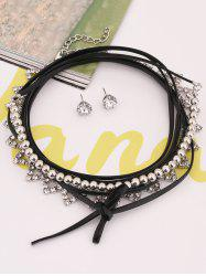 Layered Hollow Out Geometrical Rhinestone Choker Set