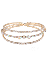 Faux Diamond Alloy Layered Bracelet