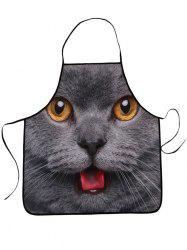 Kitchen Waterproof 3D Cat Head Printed Apron - DEEP GRAY