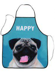 Kitchen Tool Pug Print Waterproof Apron - LAKE BLUE