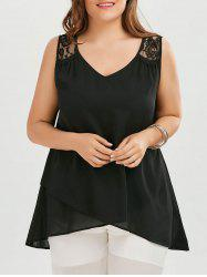 Plus Size Sleeveless Lace Insert Overlap Blouse - Black - 2xl