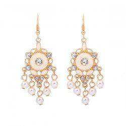 Faux Pearl Rhinestone Chandelier Earrings - GOLDEN