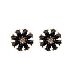 Rhinestone Round Flower Tiny Stud Earrings