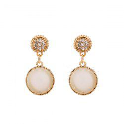 Rhinestone Faux Opal Round Drop Earrings