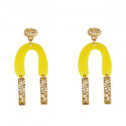 Resin Alloy Horseshoe Bar Drop Earrings