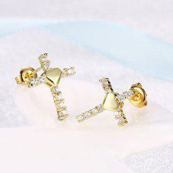 Rhinestone Crucifix Heart Tiny Stud Earrings