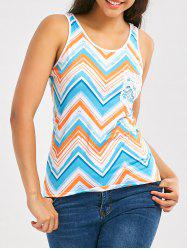 Color Block Chevron Print Tank Top